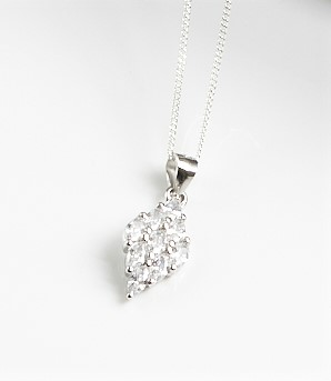 925 Sterling Silver Clear CZ Rhomb Pendant Necklace