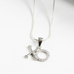 925 Sterling Silver & Clear Cubic Zirconia XO Pendant Necklace