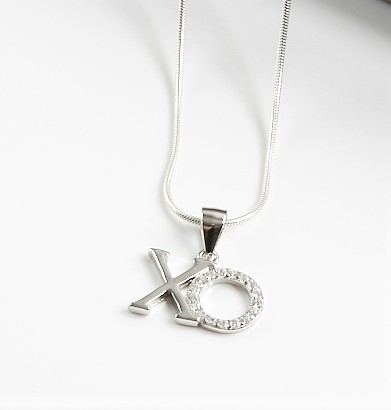 Callel Sterling Silver & Clear CZ XO Pendant Necklace