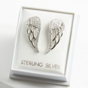 925 Sterling Silver Clear Cubic Zirconia Angel Wing Stud Earrings