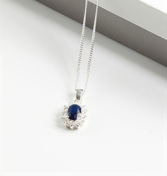 Callel 925 Sterling Silver Clear & Sapphire CZ Pendant Necklace