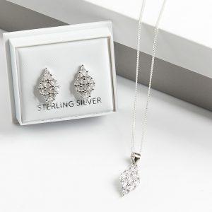 925 Sterling Silver Rhomb Necklace & Earrings Jewellery Set