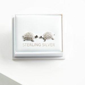 925 Sterling Silver Clear Cubic Zirconia Turtle Stud Earrings
