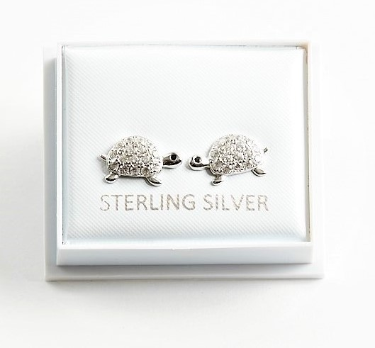 Callel 925 Sterling Silver Clear CZ Turtle Stud Earrings