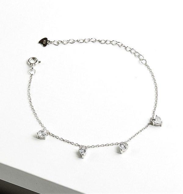 Callel 925 Sterling Silver Clear Cubic Zirconia Heart Charm Bracelet
