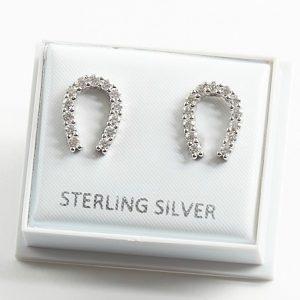 925 Sterling Silver Clear Cubic Zirconia Lucky Horseshoe Stud Earrings