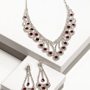 Ruby Cubic Zirconia Crystal Earrings & Necklace Costume Jewellery Set