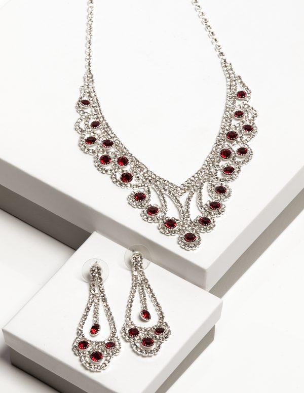 Callel Ruby Cz Crystal Earrings & Necklace Jewellery Set