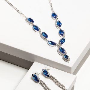 Blue Cubic Zirconia Crystal Earrings & Necklace Costume Jewellery Set