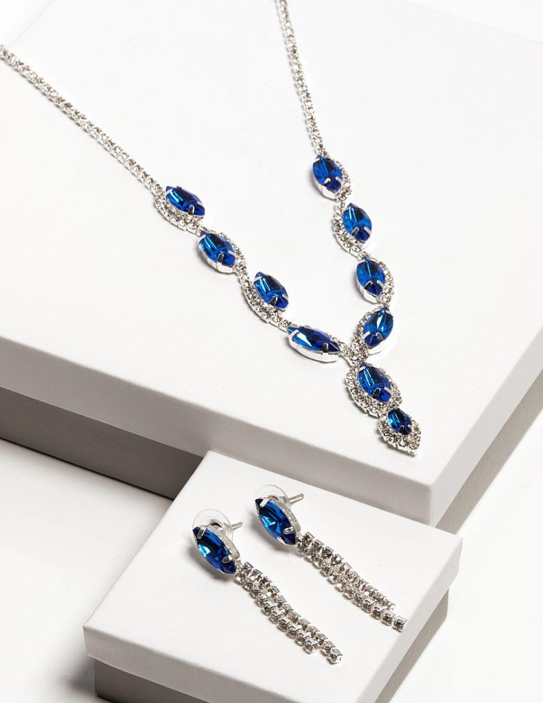 Callel Blue Cz Crystal Earrings & Necklace Jewellery Set