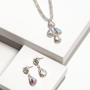 AB Diamante Necklace & Drop Earrings Jewellery Set