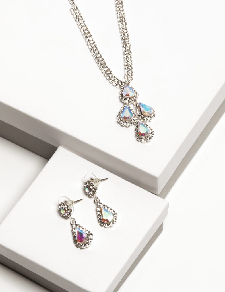 Callel AB Diamante Necklace & Drop Earrings Jewellery Set