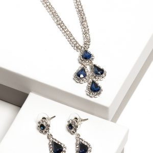 Sapphire Diamante Necklace & Drop Earrings Jewellery Set