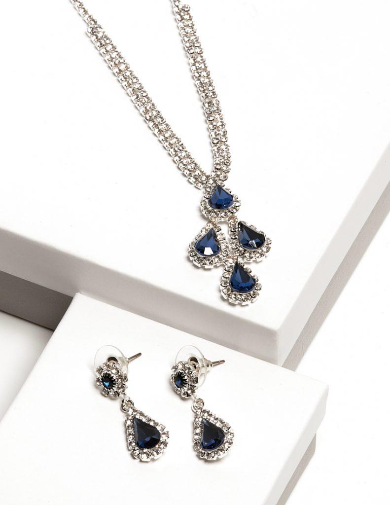 Callel Sapphire Diamante Necklace & Drop Earrings Jewellery Set