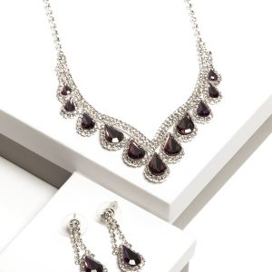 Purple Cubic Zirconia Crystal Earrings & Necklace Costume Jewellery Set