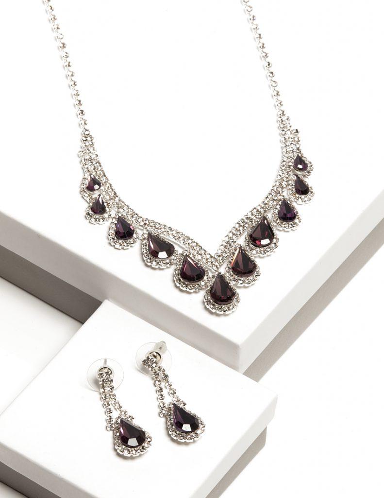 Callel Purple Cz Crystal Earrings & Necklace Jewellery Set
