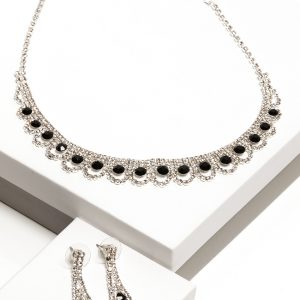 Black Cubic Zirconia Crystal Earrings & Necklace Oval Costume Jewellery Set