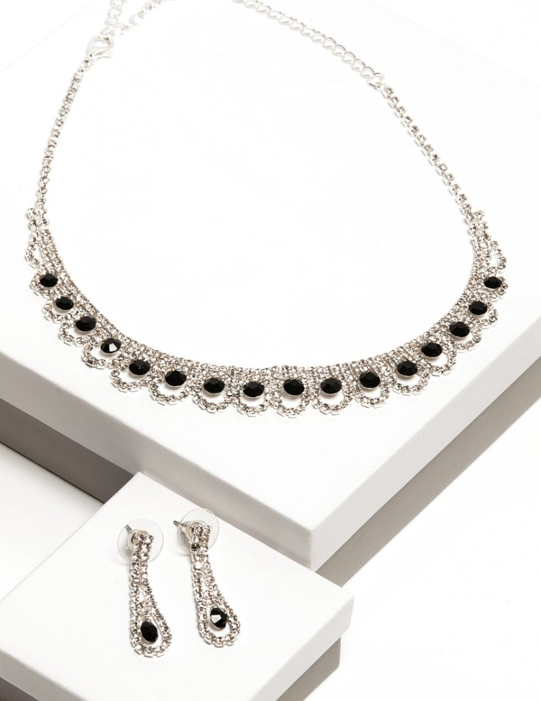 Callel Black Cz Crystal Earrings & Necklace Oval Jewellery Set