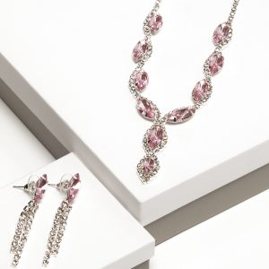 Pink Cz Crystal Earrings & Necklace Jewellery Set