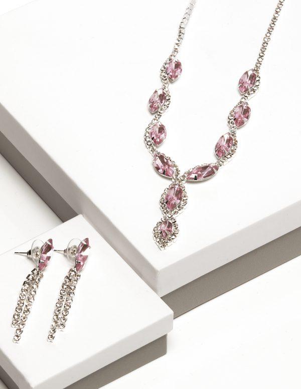 Callel Pink Cz Crystal Earrings & Necklace Jewellery Set