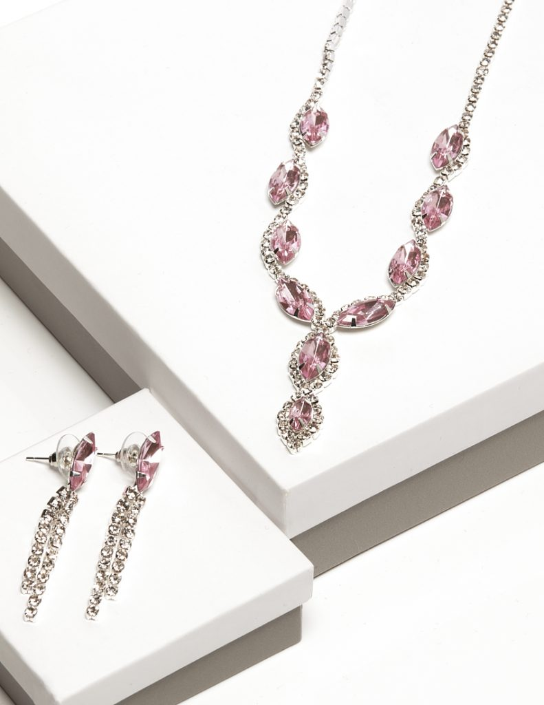 Callel Pink Cz Crystal Earrings & Necklace Jewellery Set