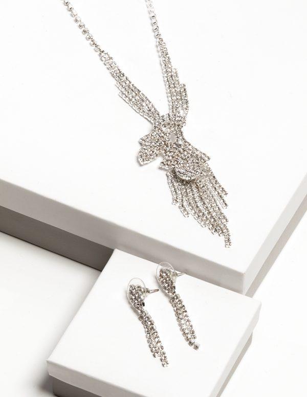 Callel Clear Cz Crystal Earrings & Necklace Jewellery Set