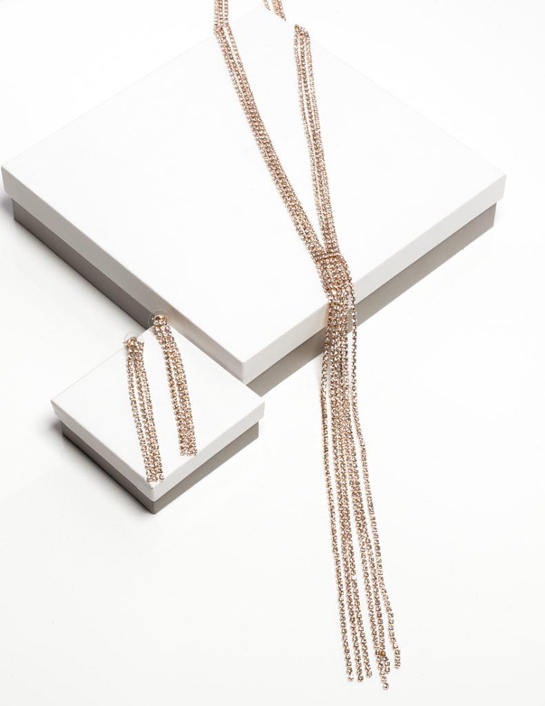 Callel Earrings & Necklace Long Drop Jewellery Set
