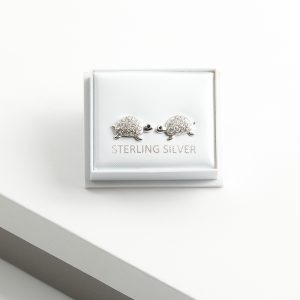 925 Sterling Silver Clear Cubic Zirconia Turtle Stud Earrings