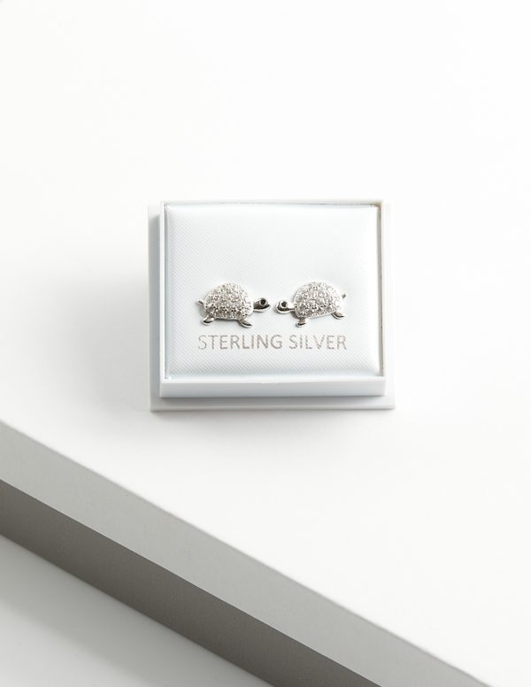 Callel 925 Sterling Silver Clear CZ Turtle Stud Earrings