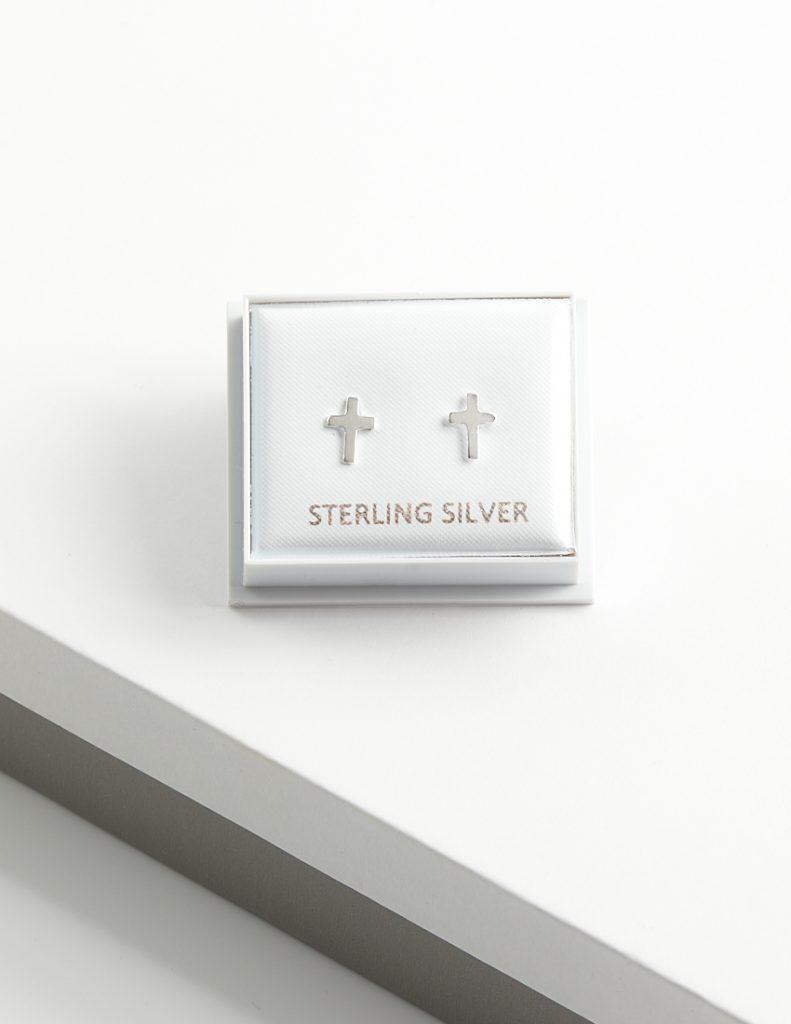 Callel 925 Sterling Silver Cross Stud Earrings