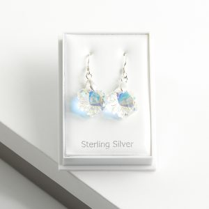 925 Sterling Silver Flower Dangle Earrings Embellished With AB Crystal From Swarovski