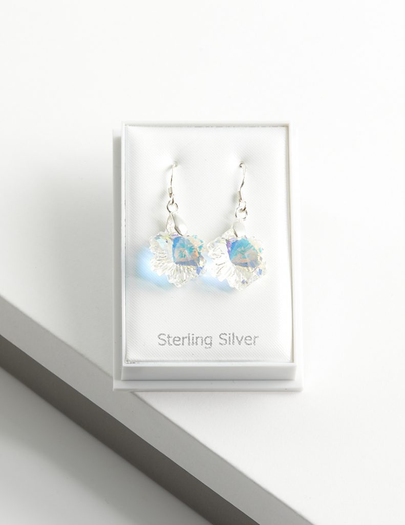 Callel 925 Sterling Silver Dangle Earrings Embellished With AB Crystal From Swarovski