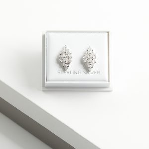 925 Sterling Silver Clear Cubic Zirconia Rhomb Stud Earrings