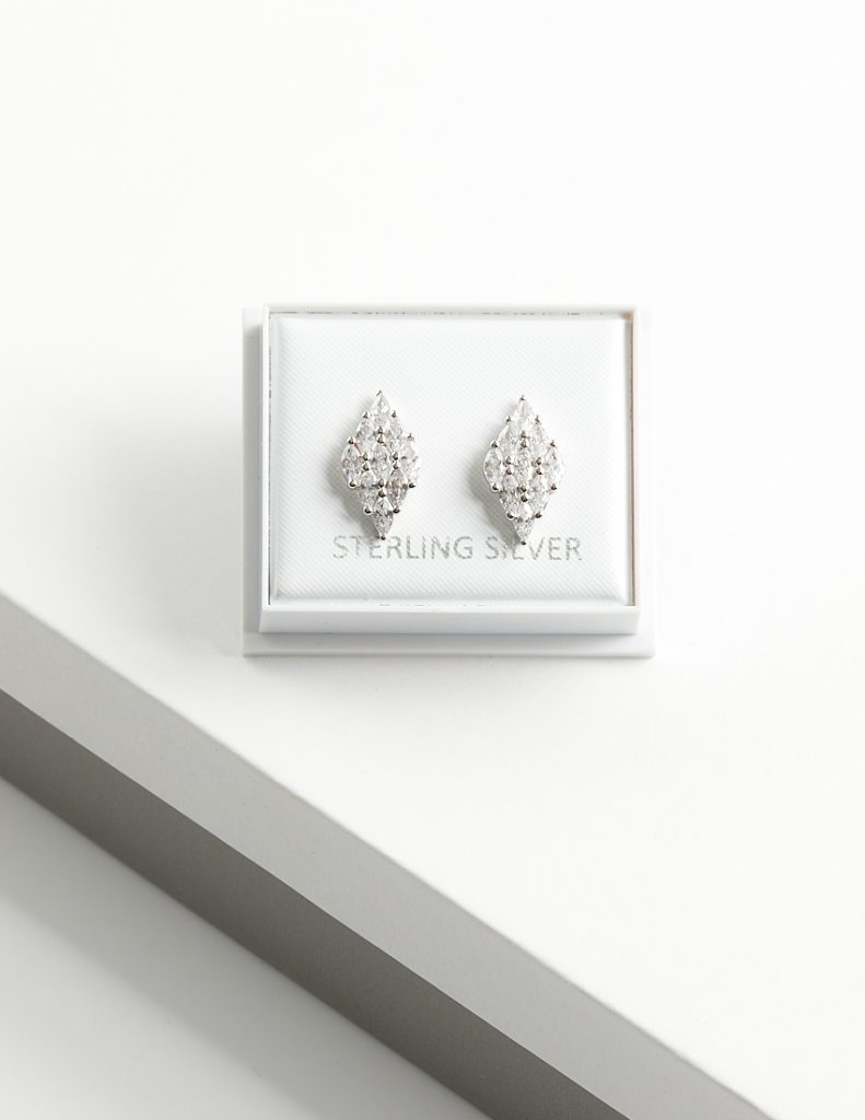 Callel 925 Sterling Silver Rhomb Stud Earrings