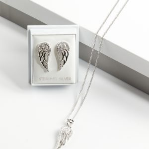 925 Sterling Silver Clear Cubic Zirconia Angel Wing Jewellery Set