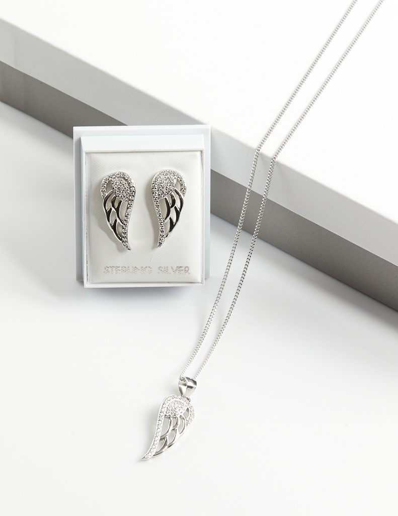 Callel 925 Sterling Silver Clear CZ Angel Wing Jewellery Set