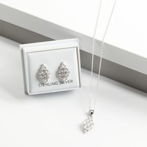 925 Sterling Silver Rhomb Necklace & Earrings Jewellery Set