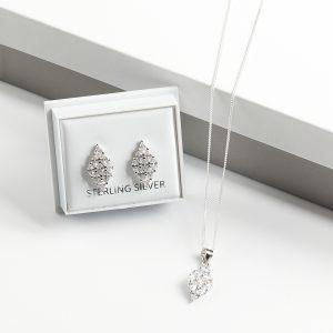925 Sterling Silver Clear CZ Rhomb Necklace & Earrings Jewellery Set