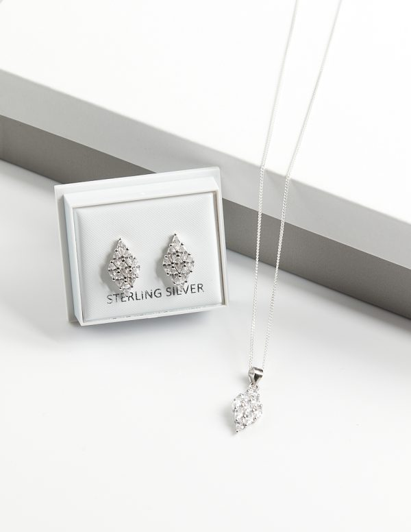 Callel 925 Sterling Silver Clear CZ Rhomb Necklace & Earrings Jewellery Set