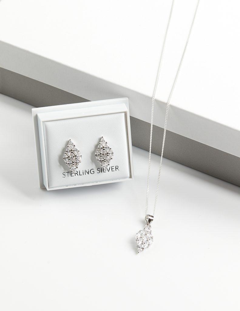 Callel 925 Sterling Silver Clear CZ Rhomb Necklace & Earrings Jewellery Set