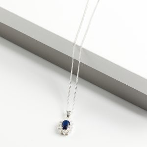 925 Sterling Silver Clear & Sapphire Cubic Zirconia Pendant Necklace