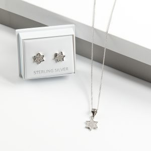 925 Sterling Silver Clear Cubic Zirconia Star Necklace & Earrings Jewellery Set