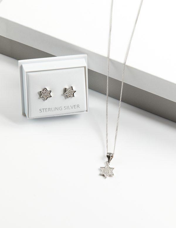 Callel 925 Sterling Silver Clear CZ Star Necklace & Earrings Jewellery Set