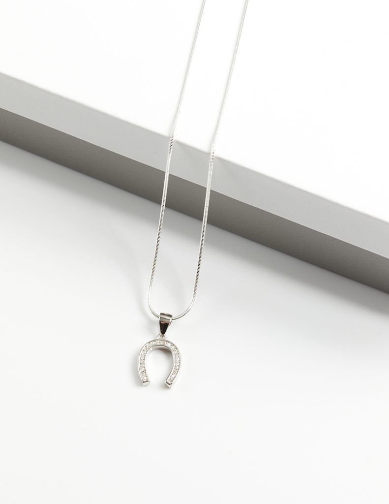 Callel 925 Sterling Silver Clear CZ Lucky Horseshoe Pendant Necklace