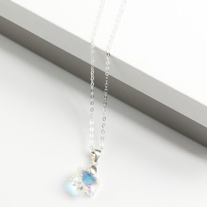 925 Sterling Silver Flower Pendant Necklace Embellished With AB Crystal From Swarovski