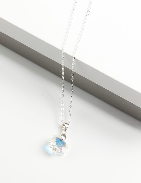 Callel 925 Sterling Silver Snowflake Pendant Necklace Embellished With AB Crystal From Swarovski
