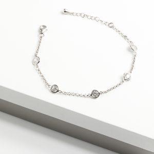 925 Sterling Silver Clear Cubic Zirconia Stones Bracelet