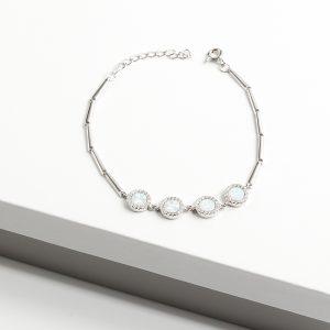 925 Sterling Silver Clear Cubic Zirconia & White Opal Bracelet