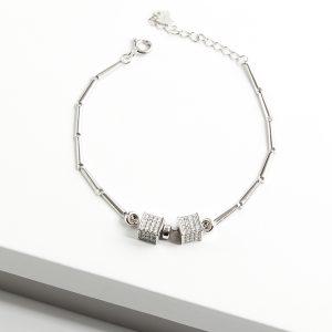 925 Sterling Silver Clear Cubic Zirconia Cube Bracelet