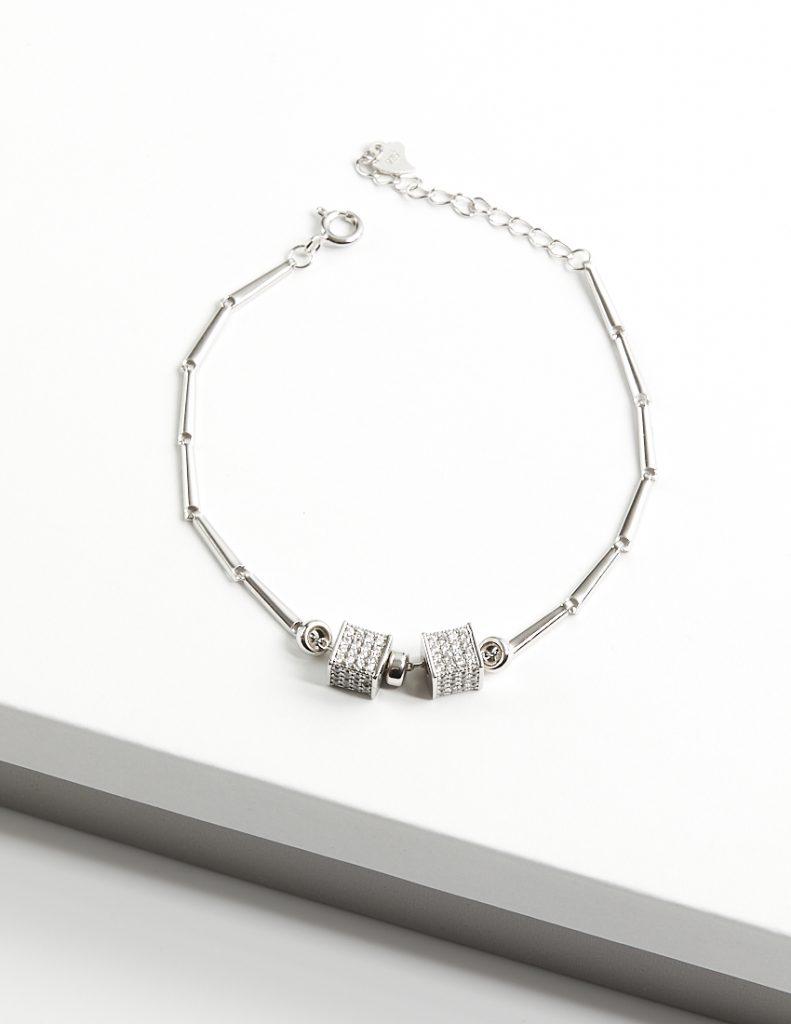 Callel 925 Sterling Silver Clear CZ Cube Bracelet